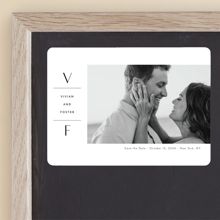 """""""Initial Attraction"""" - Save The Date Magnets in Ebony by Kaydi Bishop."""