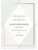 This is a green save the date magnet by chocomocacino called Creme Brulee with standard printing on magnet paper in magnet.