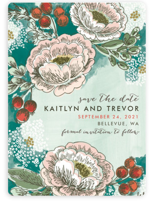 Soft Watercolor Florals Save the Date Magnets