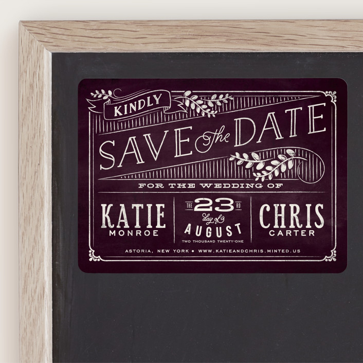 """""""Slated Forever"""" - Rustic Save The Date Magnets in Plum by GeekInk Design."""