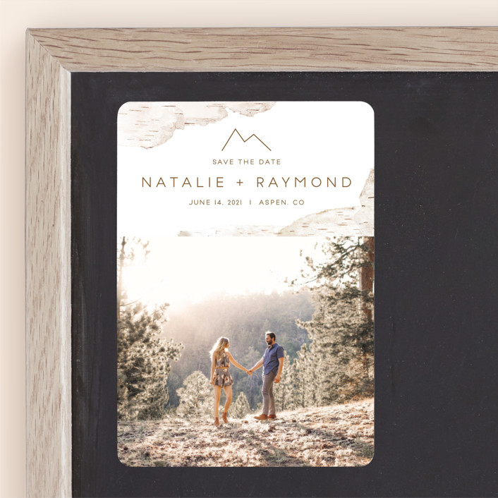 """""""Birchbark"""" - Destination, Simple Save The Date Magnets in Natural by Kelsey Mucci."""