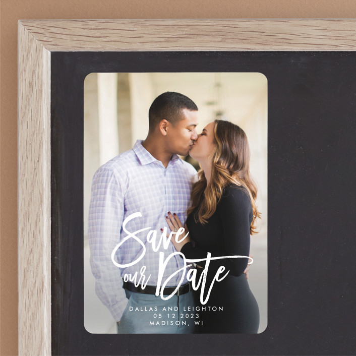"""Scrawled"" - Modern Save The Date Magnets in Pearl by Catherine Culvenor."