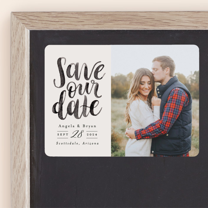 """Brushed Date"" - Save The Date Magnets in Sand by Pink House Press."