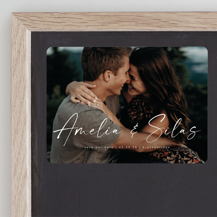 """""""Because of you"""" - Save The Date Magnets in Marshmallow by Lea Delaveris."""