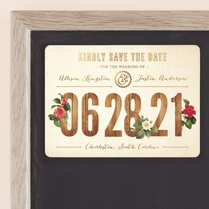 """""""Derby"""" - Rustic Save The Date Magnets in Wood by Paige Rothhaar."""
