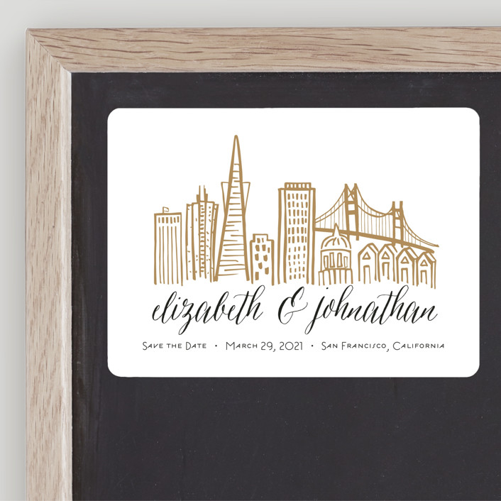 """""""Skyline - San Francisco"""" - Save The Date Magnets in Gold Coast by Abby Munn."""