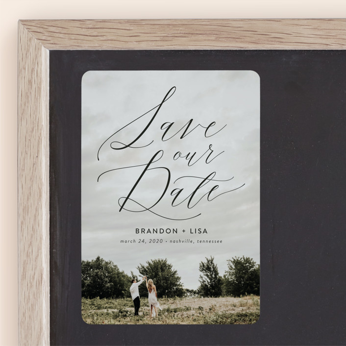"""Flowing Love"" - Save The Date Magnets in Jet Black by Erika Firm."