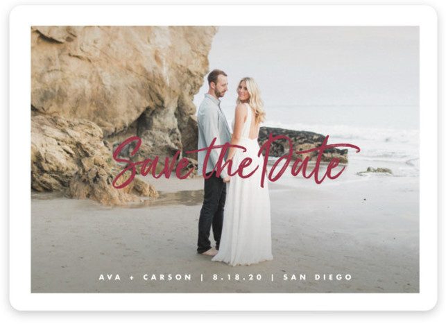 This is a landscape, portrait classic and formal, red Save the Dates by Lauren Chism called Freshest with Standard printing on Magnet Paper in Magnet Flat Card format. A modern marker like script anchor's this modern save the date card. ...