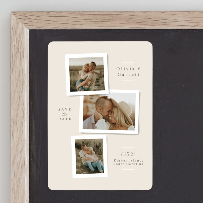"""""""Portraits"""" - Save The Date Magnets in Champagne by Jennifer Wick."""