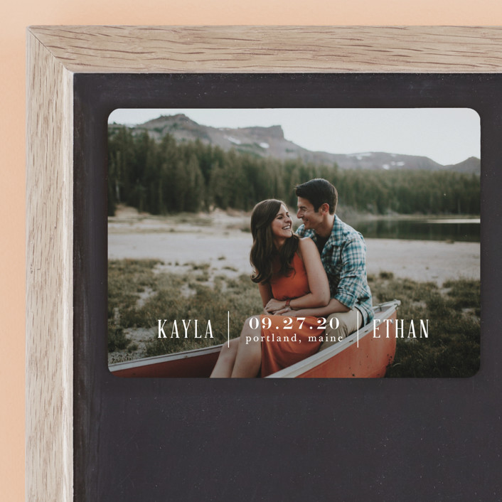"""""""Marquee"""" - Save The Date Magnets in Pearl by Alaina Cherup."""