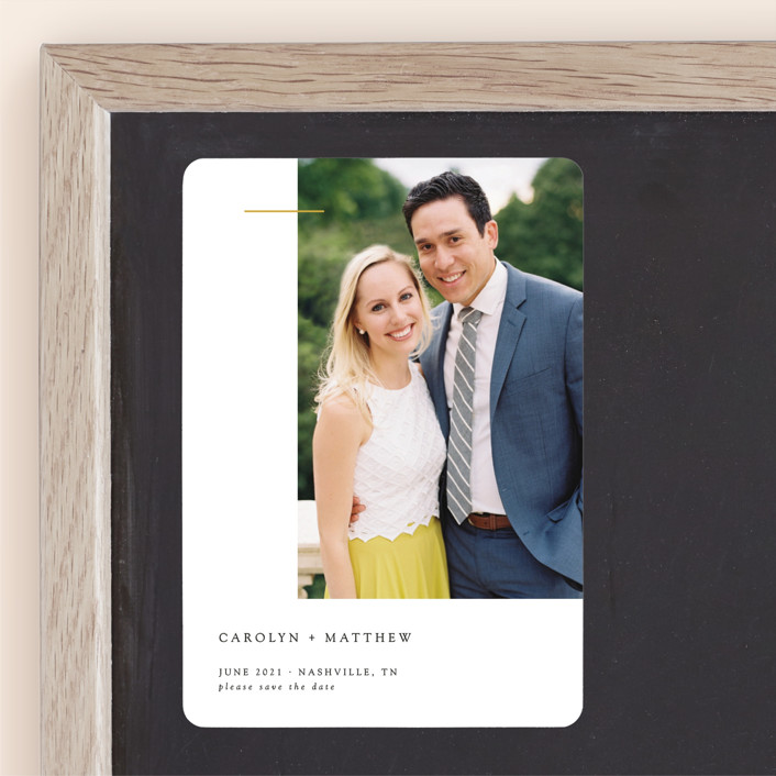 """""""Gilded Bar"""" - Save The Date Magnets in Classic by Mere Paper."""