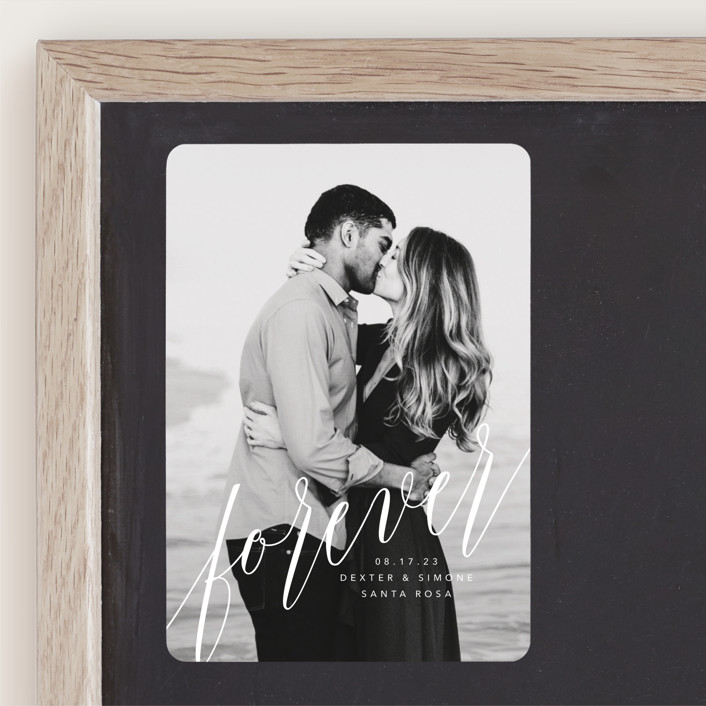 """forever with you"" - Modern Save The Date Magnets in Linen by Guess What Design Studio."
