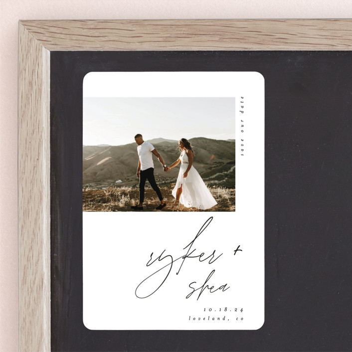 """""""Splendid"""" - Save The Date Magnets in Silk by Carolyn Nicks."""
