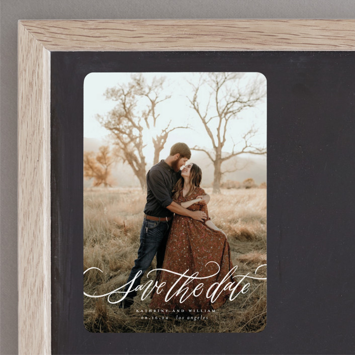 """Flourished Love"" - Save The Date Magnets in Cloud by Wildfield Paper Co."
