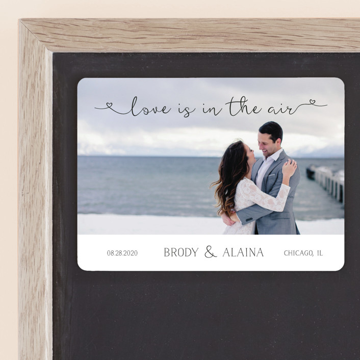 """Air"" - Rustic Save The Date Magnets in Midnight by LemonBirch Design."