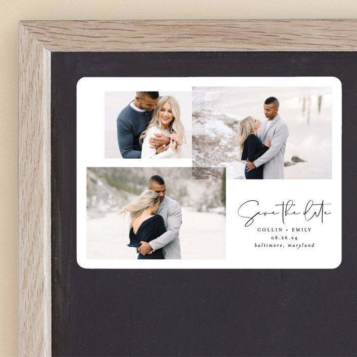"""""""amour fois trois"""" - Save The Date Magnets in Onyx by Erin Deegan."""