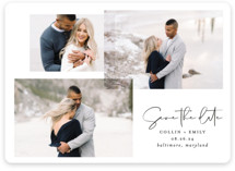 This is a black and white save the date magnet by Erin Deegan called amour fois trois with standard printing on magnet paper in magnet.