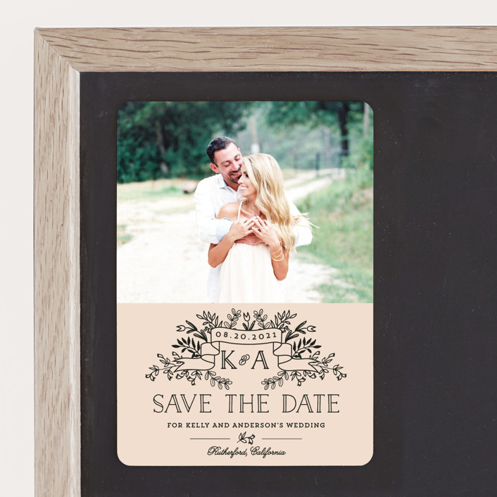 """""""Wedding Bouquet"""" - Rustic Save The Date Magnets in Petal by Chris Griffith."""
