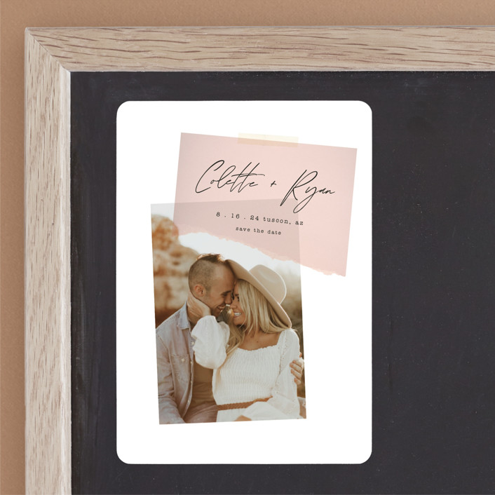 """""""Keepsake"""" - Modern Save The Date Magnets in Blush by Morgan Kendall."""