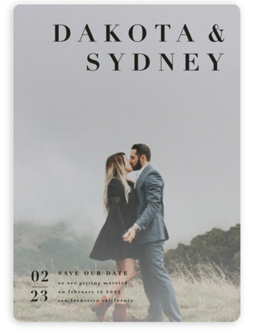 This is a bold and typographic, black Save the Dates by Four Wet Feet Studio called minimalism with Standard printing on Magnet Paper in Magnet Flat Card format. A modern save the date card features couple's names and simple typography. ...
