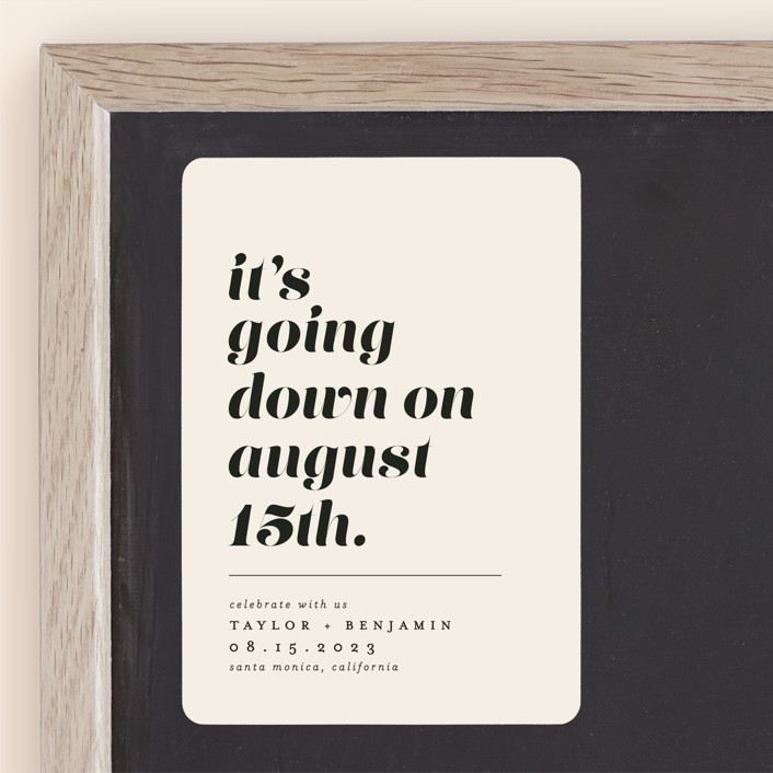 """""""Party Down"""" - Save The Date Magnets in Ecru by Erica Krystek."""
