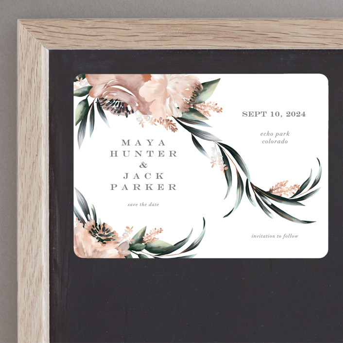 """""""Maya Rustica"""" - Save The Date Magnets in Rose by Petra Kern."""