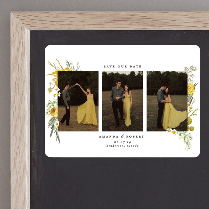 """""""Organic Florals"""" - Save The Date Magnets in Honey by Susan Moyal."""