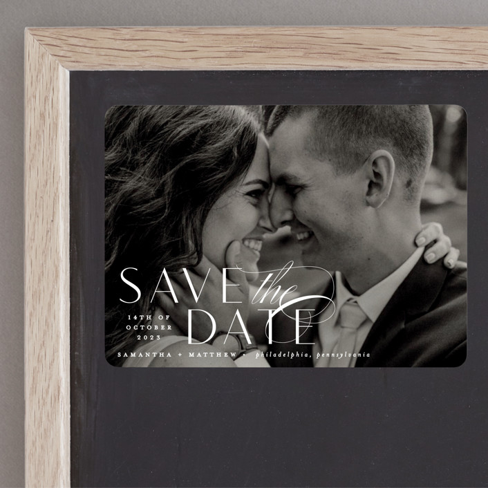 """""""Swoop"""" - Save The Date Magnets in Pearl by Everett Paper Goods."""