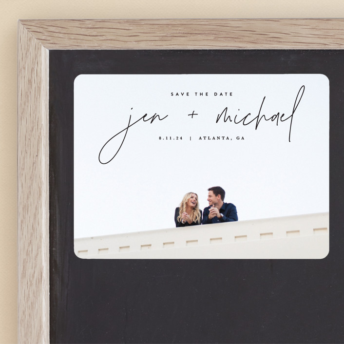 """""""Penned"""" - Save The Date Magnets in Noir by JoAnn Jinks."""