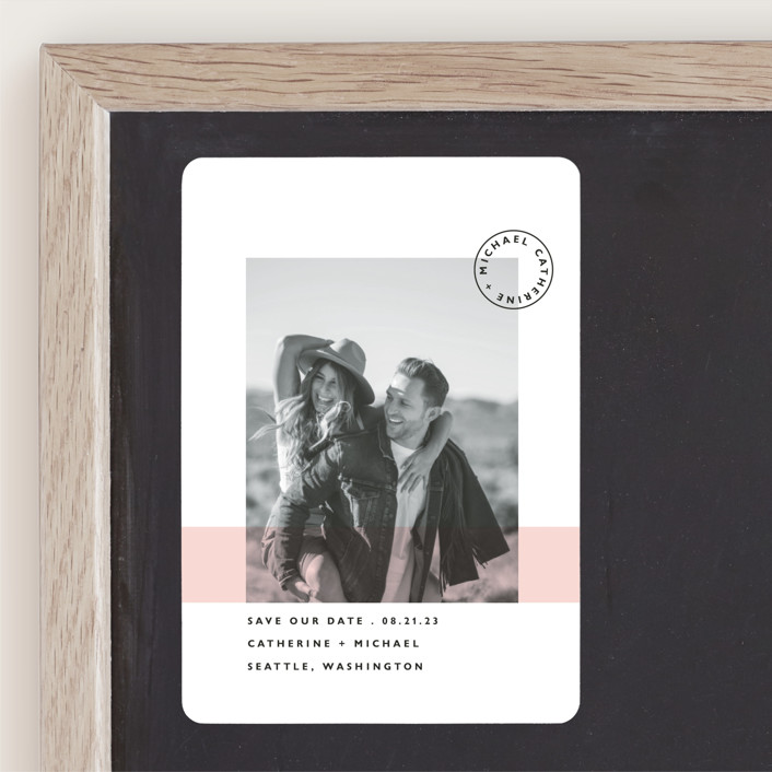 """""""Sealed with a Kiss"""" - Save The Date Magnets in Blush by Hudson Meet Rose."""