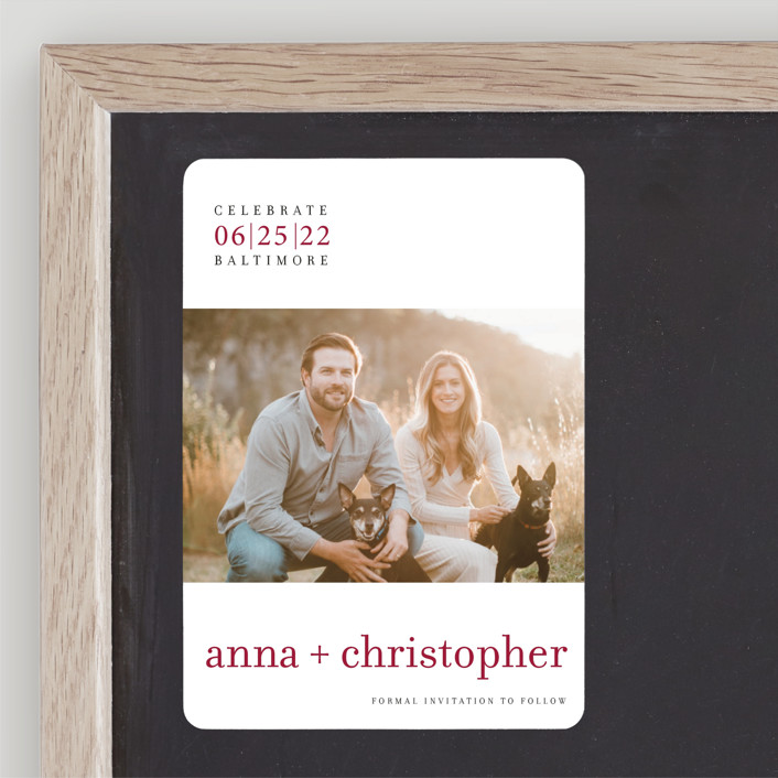 """""""float + celebrate"""" - Modern Save The Date Magnets in Maroon by Float Paperie."""