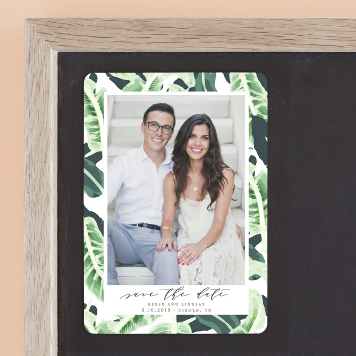 """""""Tropical Wishes"""" - Save The Date Magnets in Palm by Haley Warner."""