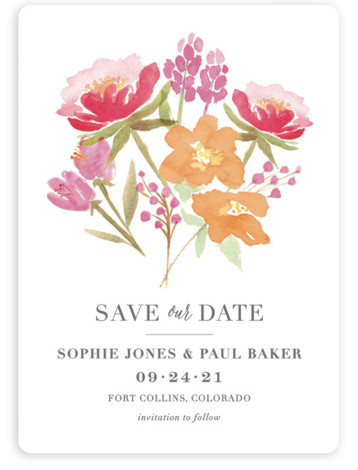 This is a portrait botanical, orange, pink Save the Dates by Laura Bolter Design called Floral Bouquet with Standard printing on Magnet Paper in Magnet Flat Card format. Elegant design featuring watercolor florals and simple typography