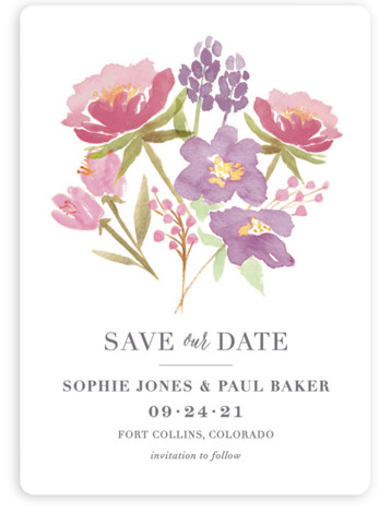 This is a portrait botanical, purple Save the Dates by Laura Bolter Design called Floral Bouquet with Standard printing on Magnet Paper in Magnet Flat Card format. Elegant design featuring watercolor florals and simple typography