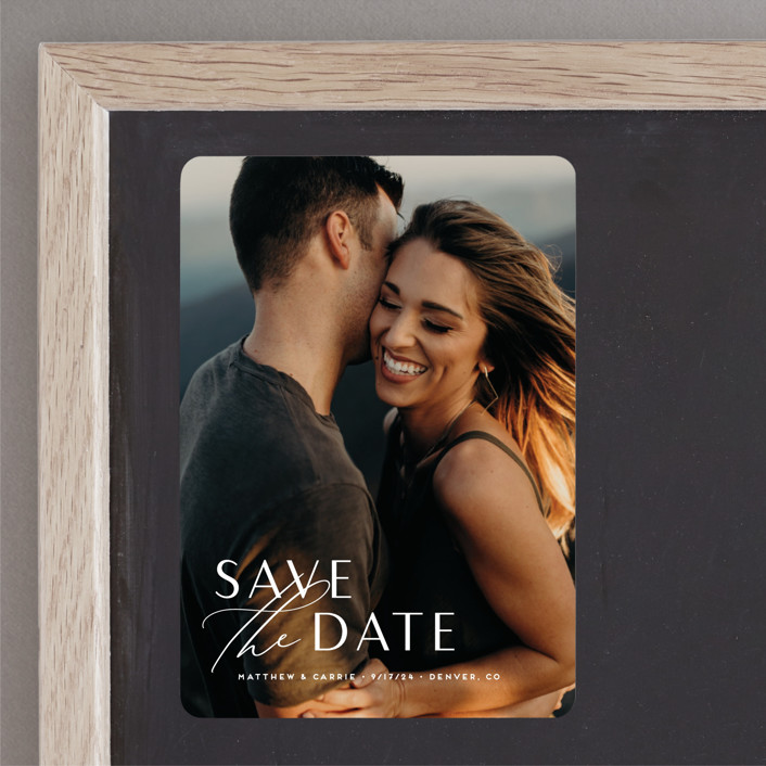 """""""Eloquent"""" - Save The Date Magnets in Pearl by Jennifer Postorino."""