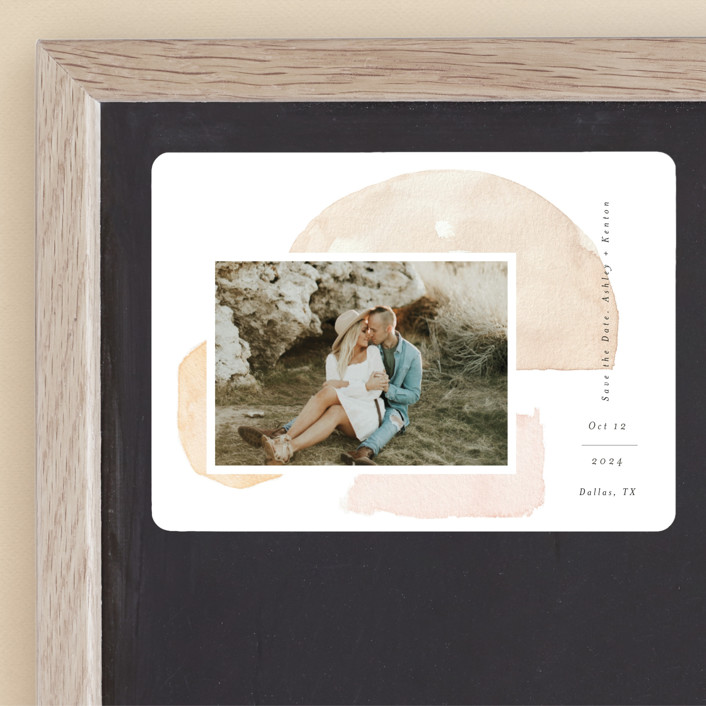 """""""Fika"""" - Rustic Save The Date Magnets in Earth by Itsy Belle Studio."""