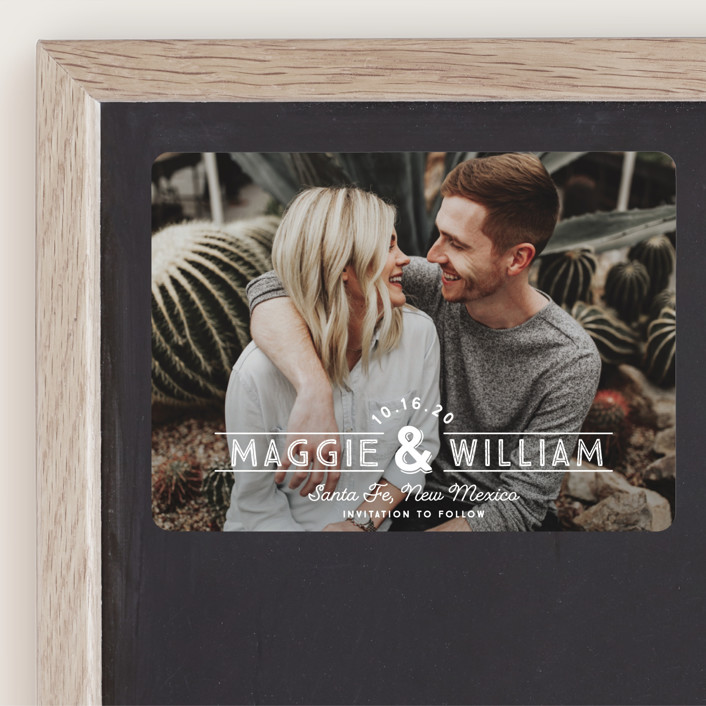 """""""Santa Fe Type"""" - Bohemian Save The Date Magnets in Pearl by Paper Dahlia."""