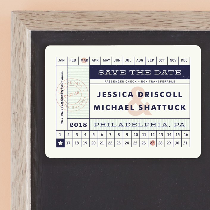 """Just The Ticket"" - Save The Date Magnets in Navy by Paper and Parcel."