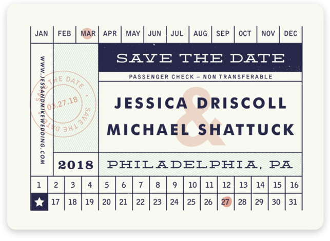 This is a landscape offbeat, blue, pink Save the Dates by Brooke Chandler called Just The Ticket with Standard printing on Magnet Paper in Magnet Flat Card format. Inspired by vintage tickets, your guests are sure to be delighted and ...