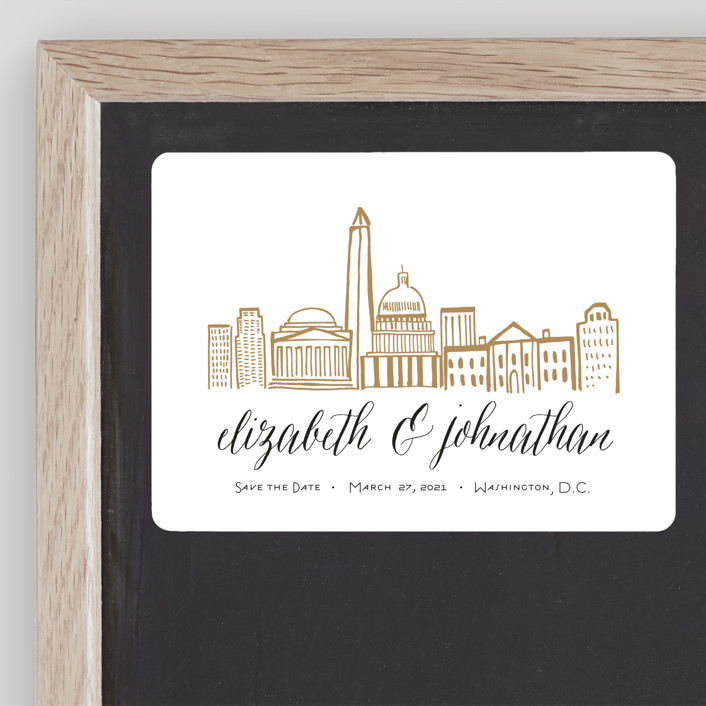 """Skyline - Washington DC"" - Save The Date Magnets in Gold Coast by Abby Munn."