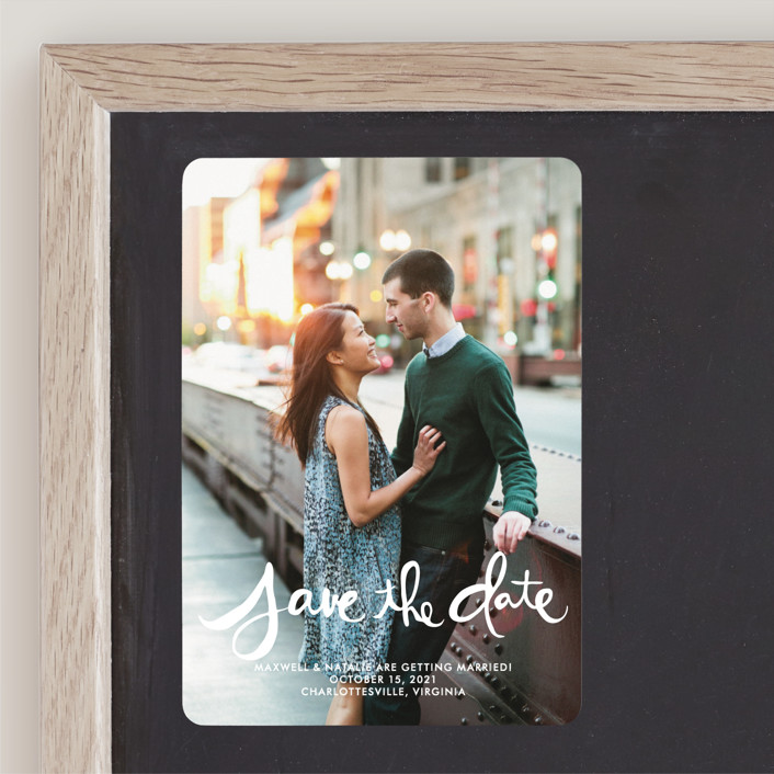 """""""Hand-Lettered"""" - Bohemian Save The Date Magnets in Lily by Dean Street."""