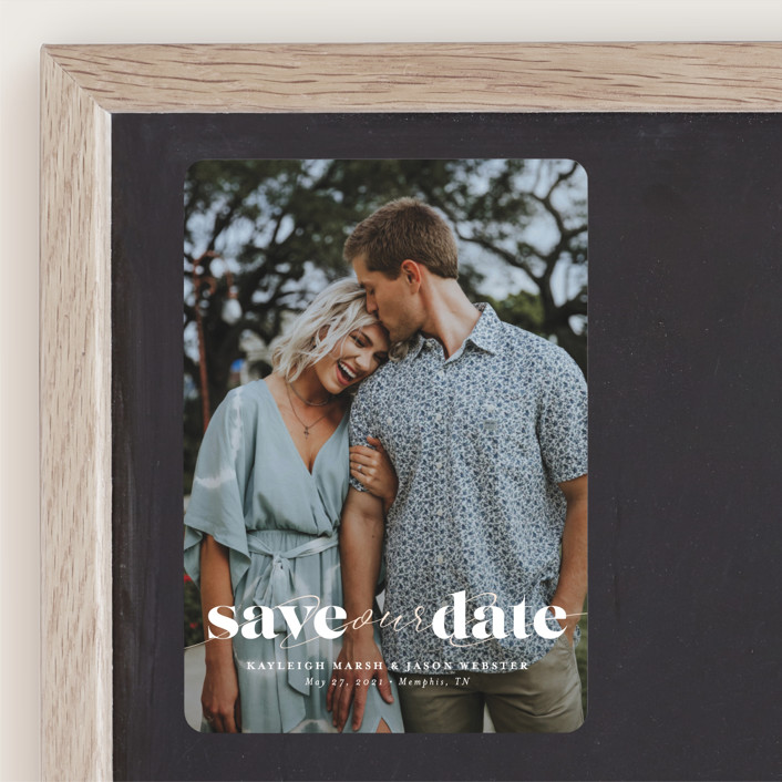 """Swoon"" - Minimalist, Simple Save The Date Magnets in Vanilla by Lea Delaveris."
