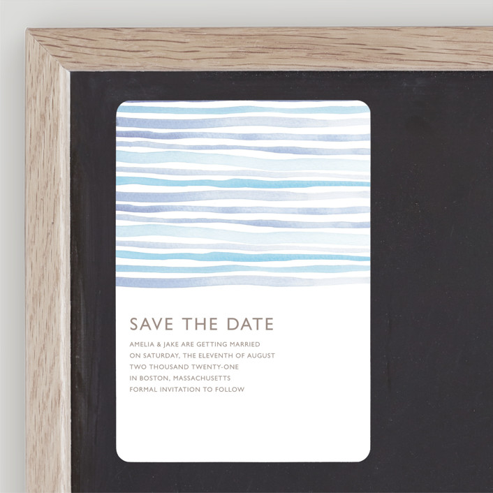 """""""Horizon"""" - Save The Date Magnets in Light Cornflower by Dean Street."""