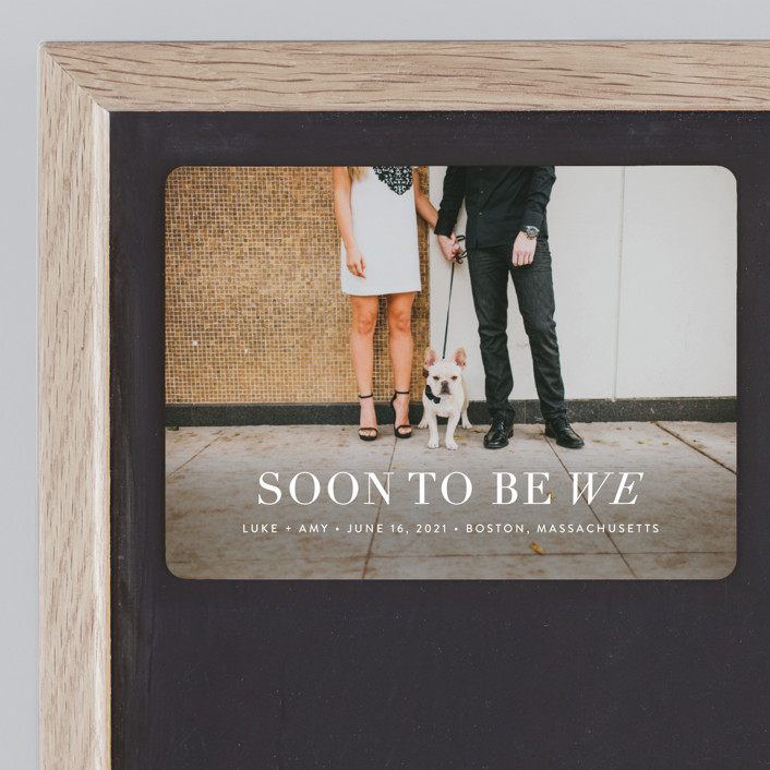 """""""Soon to Be We"""" - Modern Save The Date Magnets in Snow by Sarah Curry."""