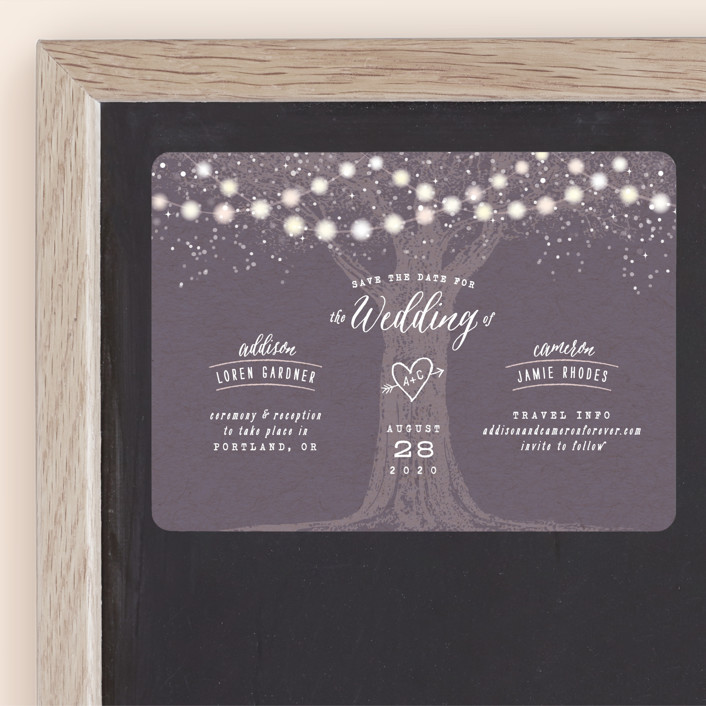 """Garden Lights"" - Rustic Save The Date Magnets in Plum by Hooray Creative."