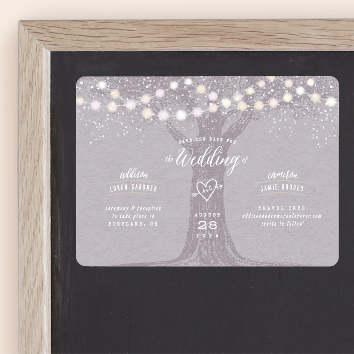 """""""Garden Lights"""" - Rustic Save The Date Magnets in Lavender by Hooray Creative."""