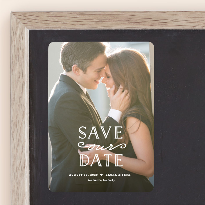 """""""XOXO"""" - Save The Date Magnets in Snow by Carolyn MacLaren."""