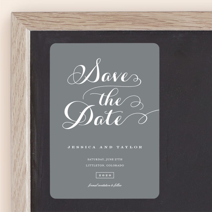 """Just Lovely"" - Save The Date Magnets in Chalk by Sara Hicks Malone."