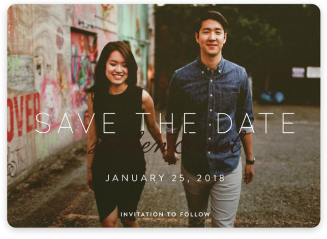 This is a landscape, portrait bold and typographic, brown Save the Dates by Keen Peachy called Swoon with Standard printing on Magnet Paper in Magnet Flat Card format. This ethereal photo save the date features your favorite couple photo, while ...