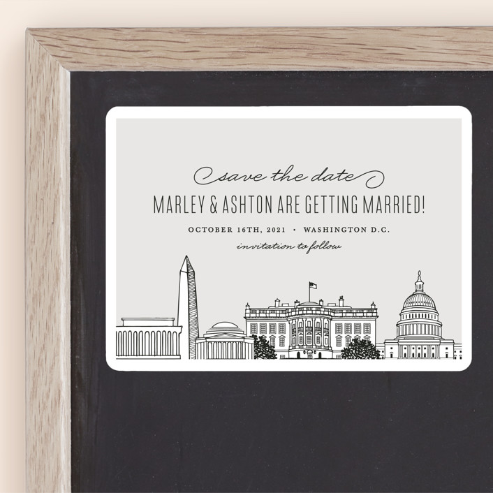 """Big City - Washington DC"" - Save The Date Magnets in Light Taupe by Hooray Creative."